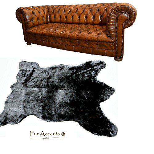(Bear Skin Throw Rug, Premium Quality, Faux Fur,Cruelty Free, Pelt Rug, Americana Collection, Designer Throw Carpet, Wolf, Coyote, Sheepskin (5'x7', Black))