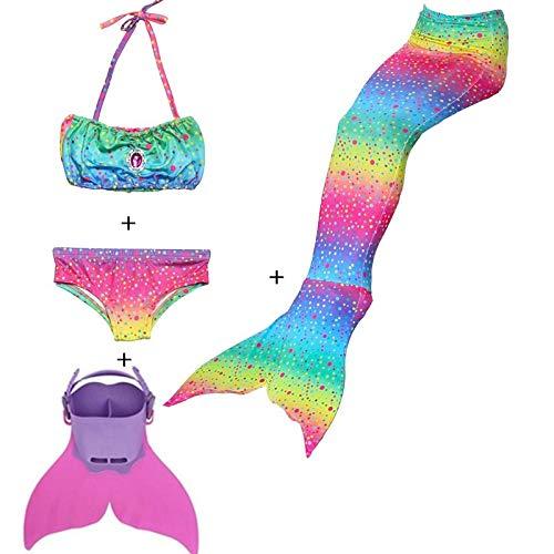 Rainbow Swimmable Mermaid Tail Bikini Sets Monofin Swimware Girls Kids Cospaly Gift (Rainbow GB04, 8)