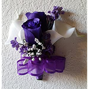 Purple Rose Bud Calla Lily Corsage or Boutonniere 115