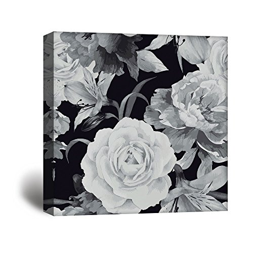 Square Closeup Flower Petals in Black White