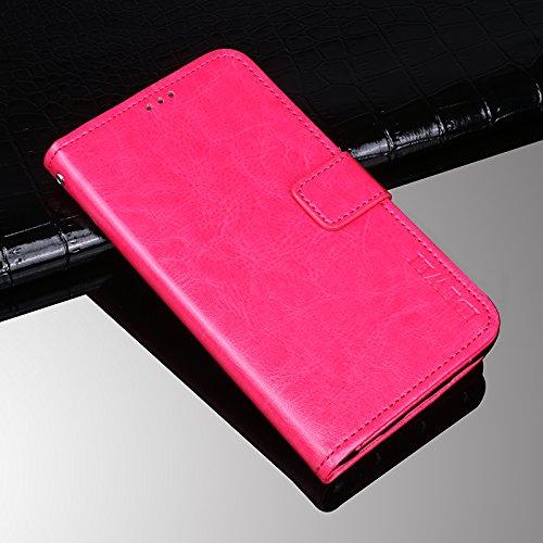 COQUE Caja del teléfono de Huawei P20, billetera del tirón del cuero de imitación del estilo del libro con la caja de la ranura para tarjeta para Huawei P20(Marrón) Rosado