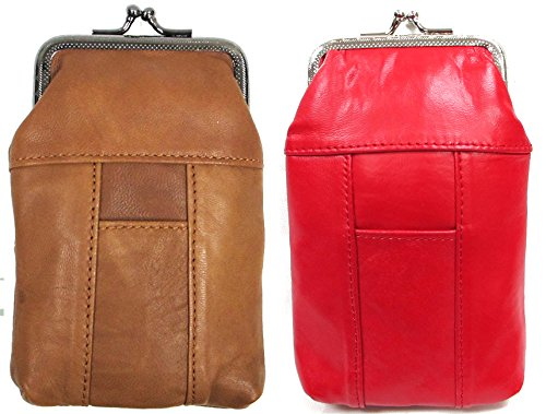 (120's Soft Leather Cigarette Pouch w/ Lighter Pocket Metal Frame Clasp Top Closure Lt. BROWN + RED 2pc for $10.99)