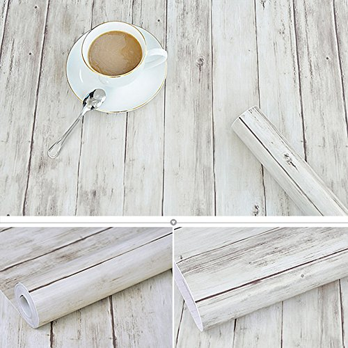 Decorative Rustic Wood Plank Contact Paper Self Adhesive Vinyl Shelf Drawer Liner for Kitchen Cabinets Shelves Drawer Table Arts Crafts Wall Decal 17.7x196 Inches