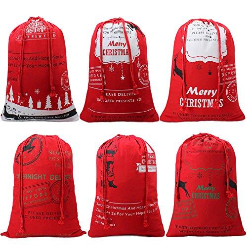 HOOPLE X'mas Present Sacks Christmas Bags for Kids Personalize Christmas Gift Wrap Santa Sacks (Random-6 packs) by Hoople (Image #1)