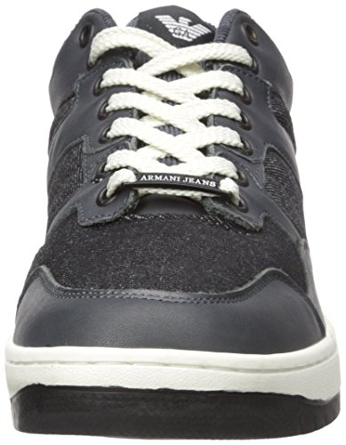 Armani Jeans Men's Denim & Leather Fashion Sneaker Black big discount j1PCXejW