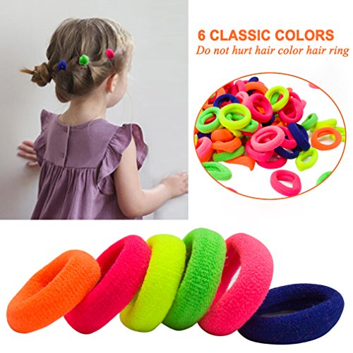 Cocider Hair Bands Ties Elastics Toddler Baby Girl, 200 PCS No Crease Ponytail Holders, Tiny Soft Rubber Bands for Baby Kids Women Men, Small Size No Aches Durable Hair Accessories -