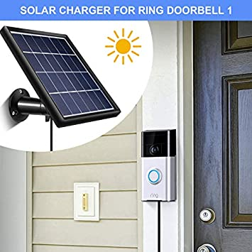SATINIOR Solar Panel Compatible with Ring Video Doorbell 1, Waterproof Charge Continuously, 5 V 3.5 W Max Output, Includes Secure Wall Mount, 3.6 M 12 ft Power Cable No Include Camera
