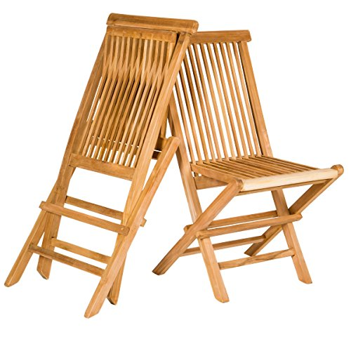 Set of 2 Traditional Teak Folding Wooden Chairs for Outdoor Patio, Backyard or Garden (Patio Wooden Chairs)
