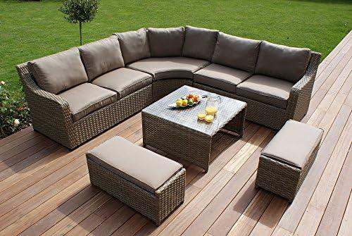 Aston ratán Muebles de jardín de Esquina Juego de sofá Cojines Beige: Amazon.es: Jardín