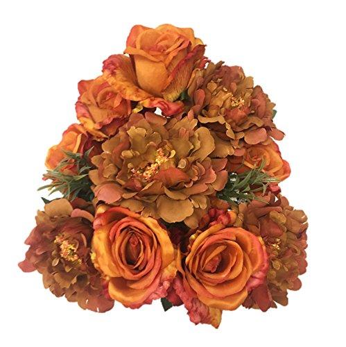 (Silk Flower Garden Artificial Roses and Peonies Autumn Mix Bouquet 14 Heads 21