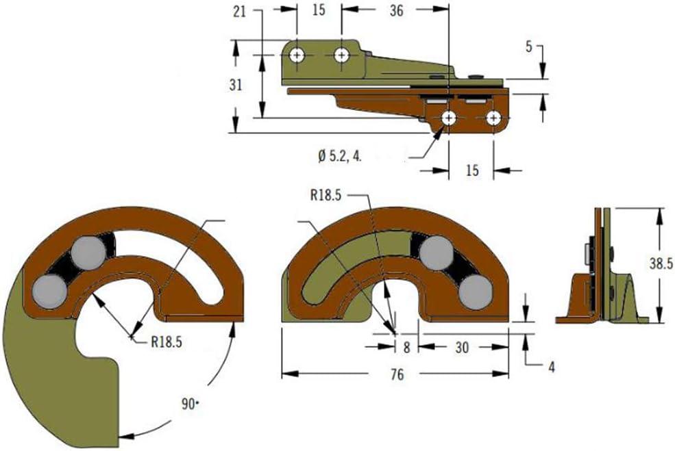 Hidden 90 Degree Door Hinge Industrial Equipment Cabinet Door Carbon Steel Sliding Limit Hinge Fixed Two-Legged Furniture Furniture Hardware 1 Pair