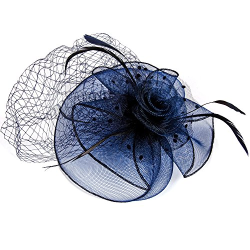 FENTORY Fascinator Hat Flower Mesh Net Veil Ribbons Feathers Party Hat Wedding Hat with Clip and Hairband for Women (Flower Hats For Halloween)