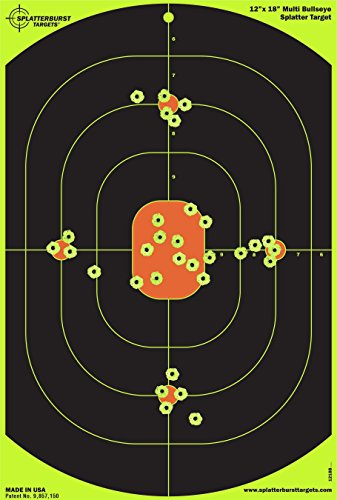 Splatterburst Targets 12 x 18 inch Bullseye Reactive Shooting Target - Shots Burst Bright Fluorescent Yellow Upon Impact - Gun - Rifle - Pistol - AirSoft - BB Gun - Pellet Gun - Air Rifle (50 pack)