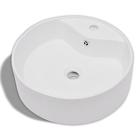 vidaXL Waschbecken Keramik Design Hahnloch Rund Waschschale  Aufsatzwaschbecken