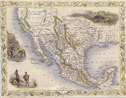 Map Of California Mexico.Amazon Com 1800 S Mexico California Texas Map Vintage Poster Repro