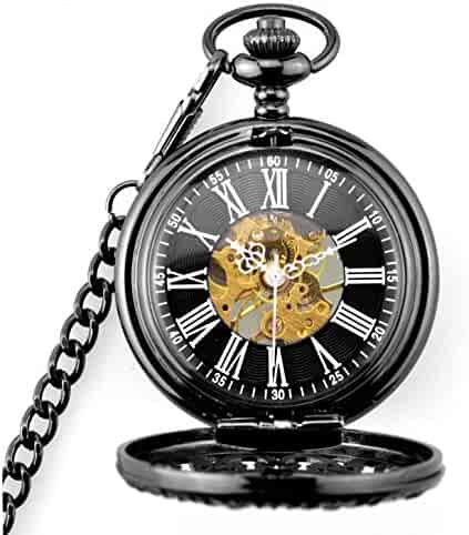 Winkeyes Mechanical Pocket Watch, Black Vintage Steampunk Roman Numerals Scale Mens Womens Watch with 14.5in Chain for Dad Birthday Xmas Fathers Day with Gift Box