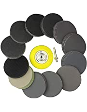 Binogram Sanding Discs 3Inch, Hook and Loop Wet Dry Silicon Carbide Sandpaper, with Shank Backing Pad,Soft Buffering Pad