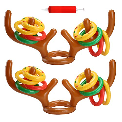 Uniqhia Two-Player Inflatable Reindeer Antler Ring Toss Game for Xmas Party(2 Antlers 12 Rings) (Lights Reindeer Xmas)