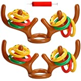 Uniqhia Two-Player Inflatable Reindeer Antler Ring Toss Game for Xmas Party(2 Antlers 12 Rings)