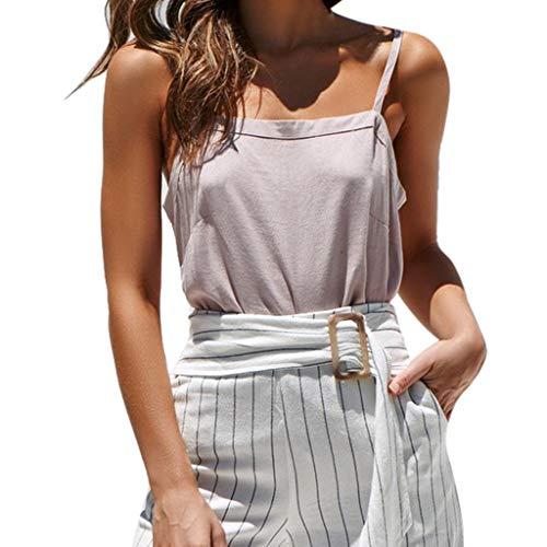 7badc07e900 NUWFOR Women Sleeveless Pure Color Bandage Camisole Vest Tops Loose T-Shirt  Blouse(Beige