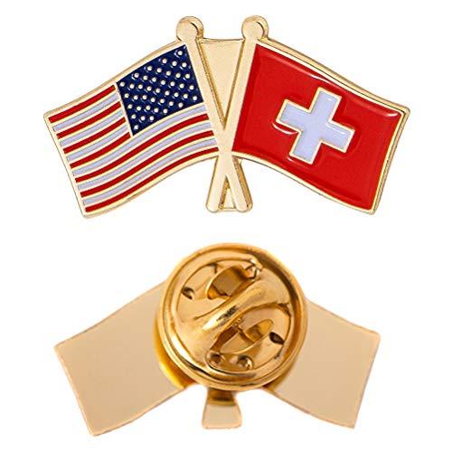 Switzerland Country Double Flag Lapel Pin Enamel with United States USA US Souvenir Hat Men Women Patriotic (Double Flag Pin)