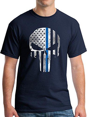 Blue Line Skull Shirt Vigilante Superhero Pro Cop NYPD T-Shirt V Navy L
