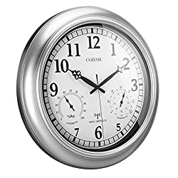 COZIME Waterproof Wall Clock 18 Inches, Automatically Receive Signals Weather Forecasts Decor Clock with Temperature, Humidity Display Function