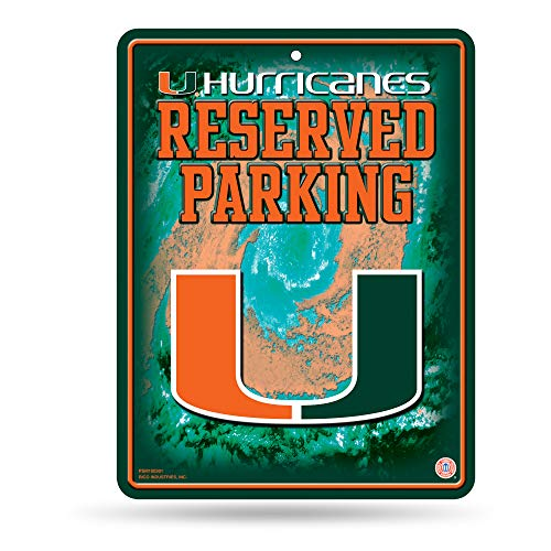 NCAA Miami Hurricanes 8-Inch by 11-Inch Metal Parking Sign Décor (Hurricanes Miami Sign)