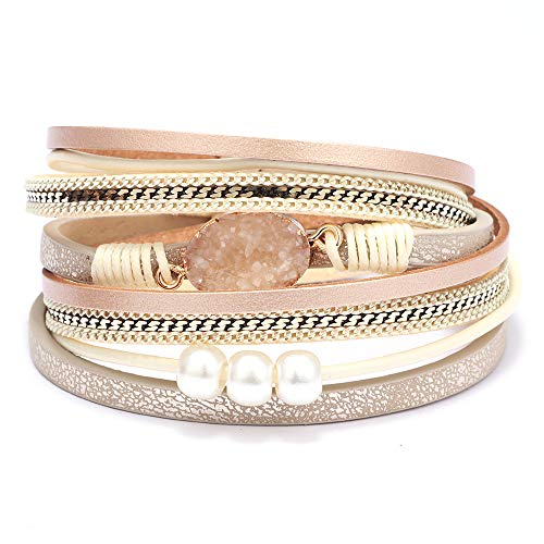 AZORA Womens Leather Wrap Bracelet Handmade Pearls Beads Cuff Bangle Bracelets for Women Girls (Beige-druzy Stone)