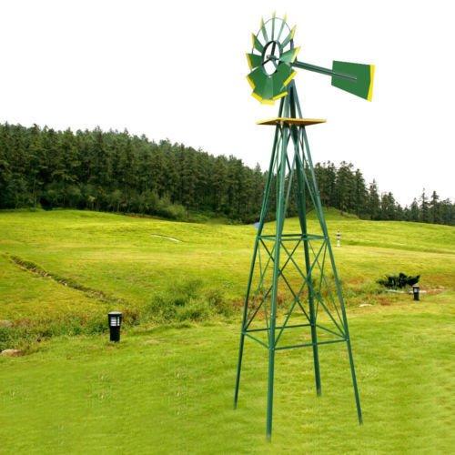 TStore Weather Vane Yard Windmill Ornamental Decorative Wind Wheel Green and Yellow Garden 8Ft Tall