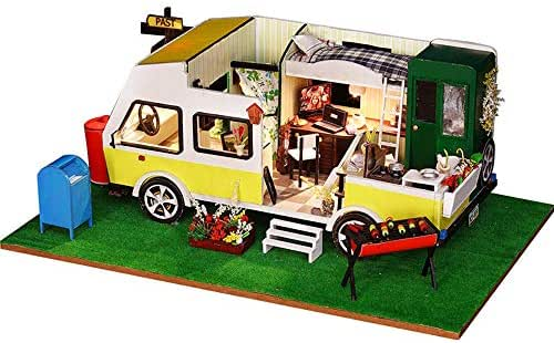 AI-YUN Kids Handmade DIY Wooden Car Model Dollhouse with LED Lights (Leisure Holiday)
