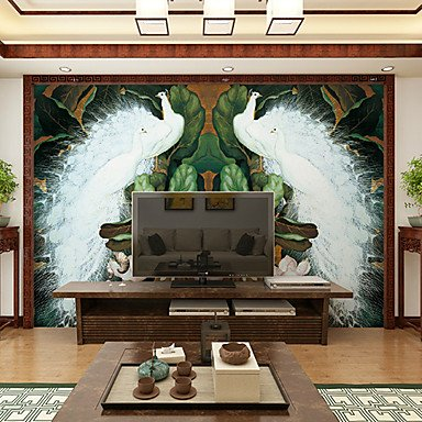 zhENfu Art Deco Wallpaper For Home Wall Covering Canvas Adhesive required Mural White Peacock Green Banana Leaf XL XXL XXXL,3XL