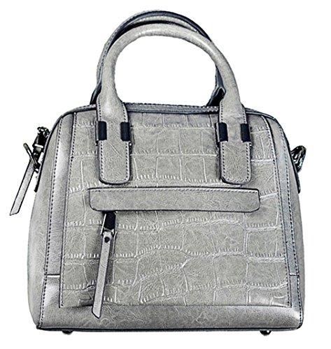 Hopeeye Woman Trends Tendance Sac à dos en peau de vache Sac à main Messenger Bag Cuir élégant (vert) 5-gris