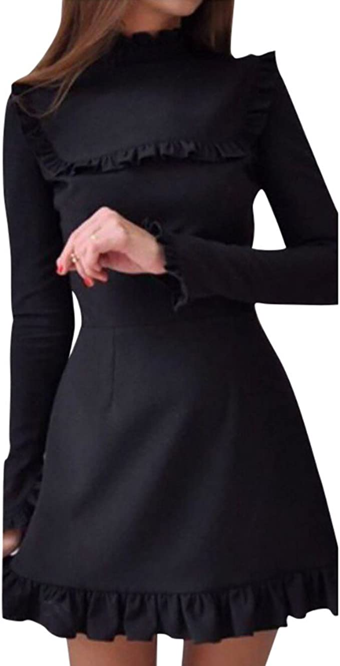 Kolylong® Kleid Damen Frauen Elegant Rüschen Kleid Vintage Langarm Kleid  Kurz Festlich Skaterkleid A-Linie Kleider Strandkleid Minikleid Bodycon