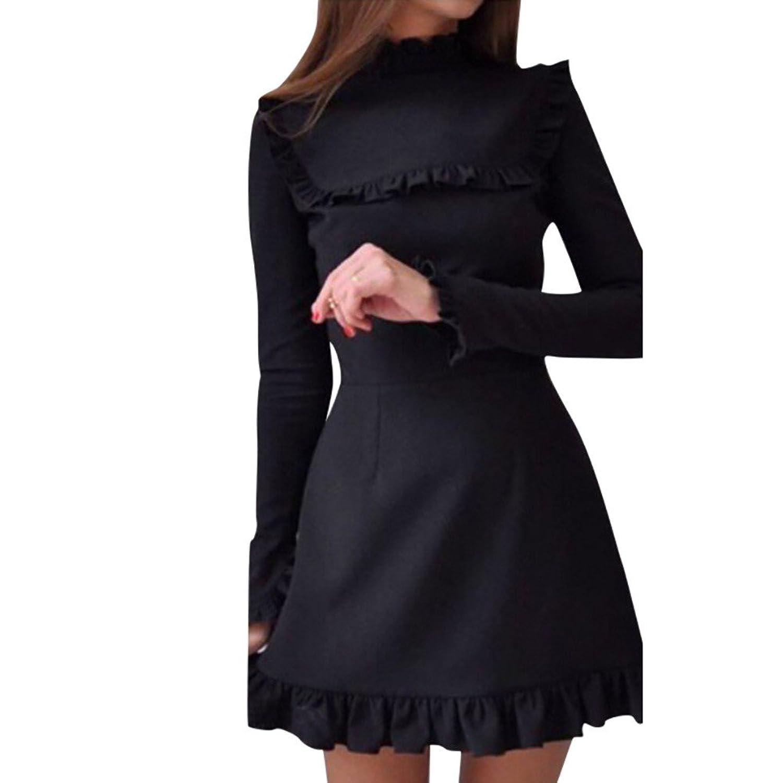 c09e80e32e06c4 50%OFF Kolylong® Kleid Damen Frauen Elegant Rüschen Kleid Vintage Langarm  Kleid Kurz Festlich