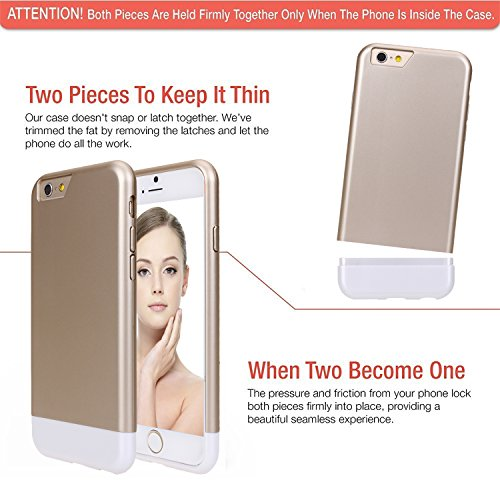 iPhone 6 Case, SGM (TM) Premium Dual Color [Shock Proof Case] Hybrid Protective Scratch Proof Case For iPhone 6 (4.7) (Gold + White)
