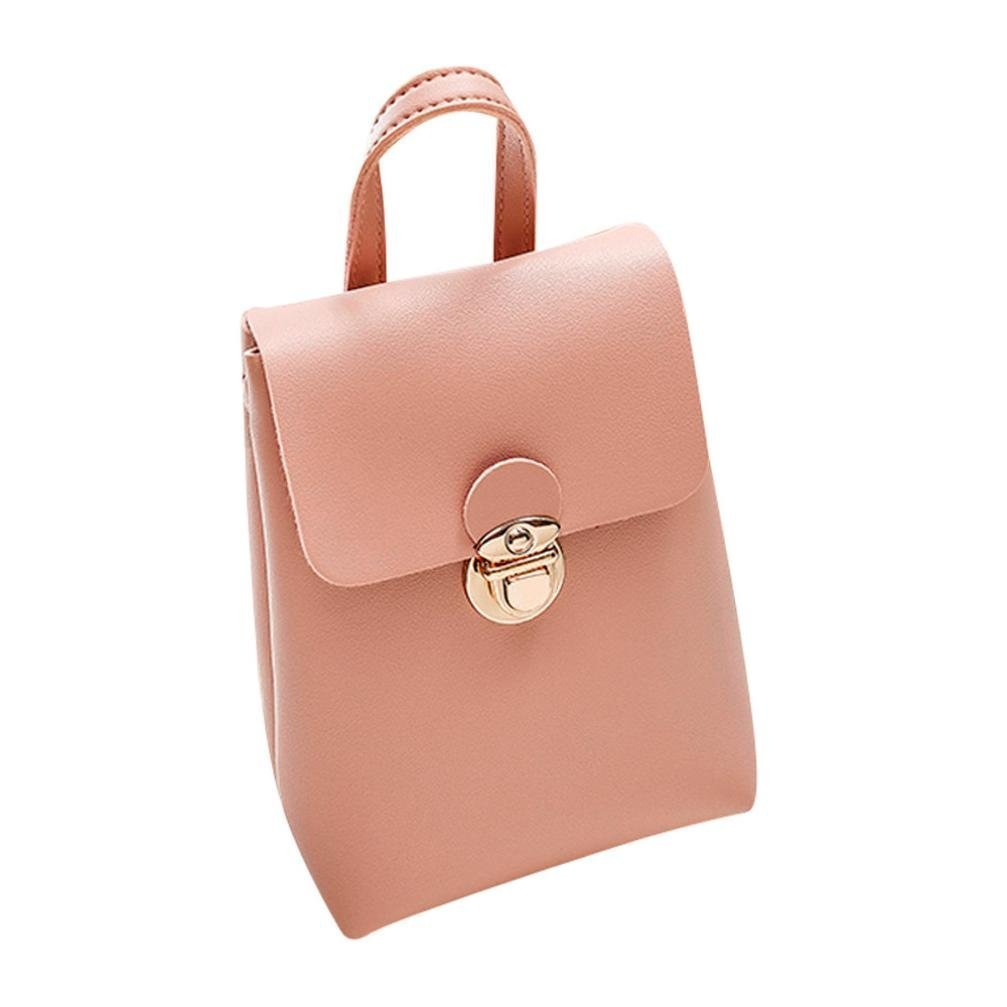 Small Leather Crossbody Purse Fashion Satchel Handbags Shoulder bags for Women (Pink)