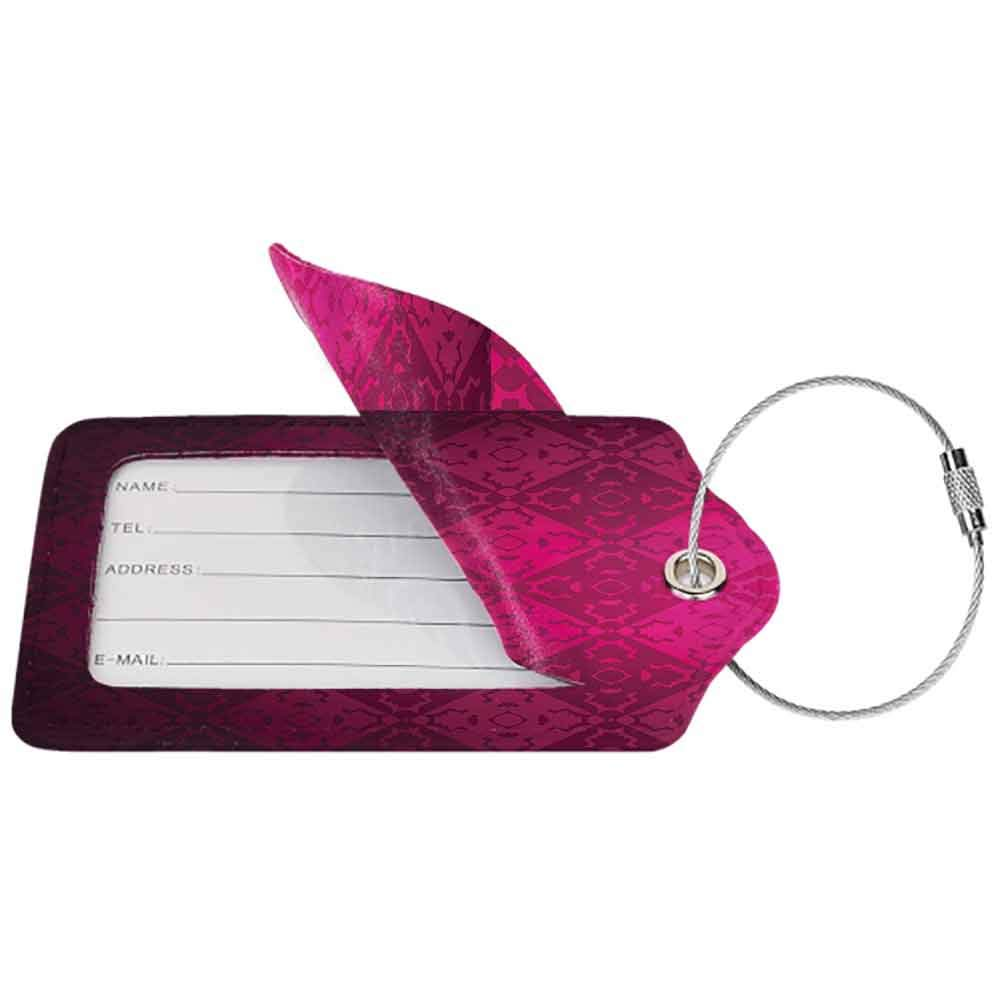 Modern luggage tag Magenta Decor Ornamental Dated Feminine Rectangular Forms Background Damask Past Design Suitable for children and adults Maroon Fuchsia W2.7 x L4.6