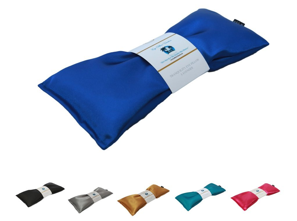 Eye Pillow Vacation Organic Flax Seed Filled Lavender Eye Pillow, Sapphire - Ultra Silky Satin