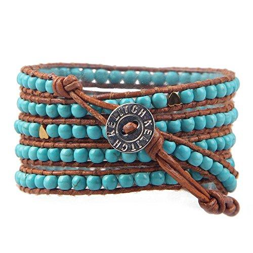 KELITCH Bleu Turquoise Perles Manchette Bracelet - Marron Cuir - 5 Rangées