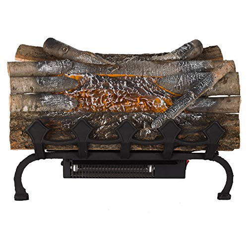 (Pleasant Hearth L-20WGH Crackling w/Grate and Heater Electric Log, Natural Wood)
