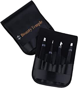 Beauty Temple Stainless Steel Tweezers Set 4 Piece, Hair Removal Slant Tip and Pointed Eyebrow Tweezer Set, Precision Eyebrow, Facial Hair, Ingrown Hair, Splinter, Blackhead and Tick Remover