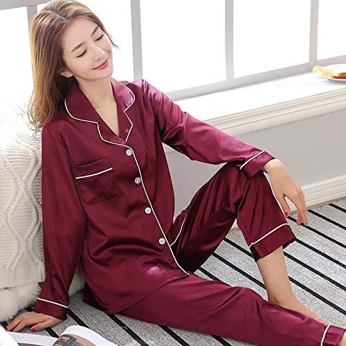 948851bce22b HITSAN Purple Spring Women Nightwear 2pc Shirt Pants Sleep Pajamas Sets  Sleepwear Faux Silk Silky Nightgown Robe Bath Gown Clothes A - 6 Size L   Amazon.in  ...