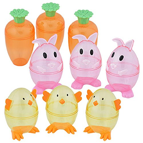 (Candy Packaging Plastic Containers (3 Package Set)Include: 3-bunny; 3-carrot and 3-chick Containers)