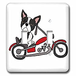 3dRose All Smiles Art Pets - Funny cute Boston Terrier Dog Riding Motorcycle - Light Switch Covers - double toggle switch (lsp_263667_2)