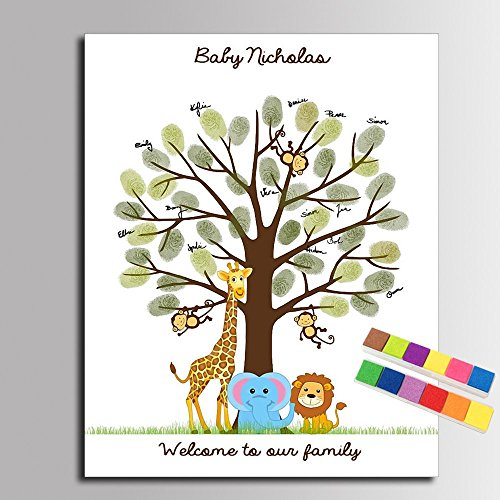 DIY Baby Shower Guest Book for Boys Communion Decorations, Personalized Fingerprint Tree Cartoon Lion Elephant Guest Sign in Book with Ink Pad Birthday Gifts -40x60cm