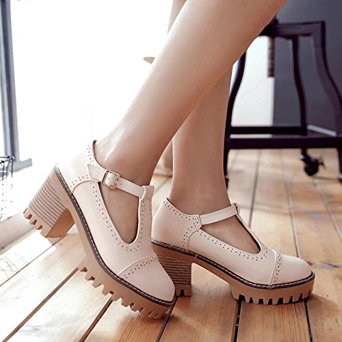Pink Women Shoes Buckle Bar Strap Pumps T Heel TAOFFEN Block Office Classical gaxdvqnP