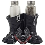 salt n pepper shakers classic - Decorative Black Motorcycle Biker Boots Glass Salt and Pepper Shaker Set Figurine with Born to Ride Banner, Skull & Eagle Wings Symbol for Bar or Kitchen Decor As Gifts for Harley Riders