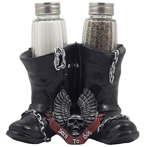 Decorative Black Motorcycle Biker Boots Glass Salt and Pepper Shaker Set Figurine with Born to Ride Banner, Skull & Eagle Wings Symbol for Bar or Kitchen Decor As Gifts for (Motorcycle Figurine Collection)