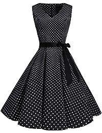 Women's Classy V-Neck Audrey Hepburn 1950s Vintage Rockabilly Swing Dress